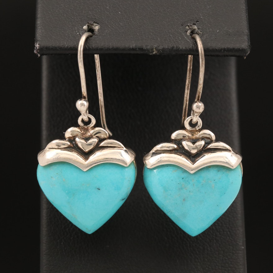 Sterling Howlite Heart Earrings