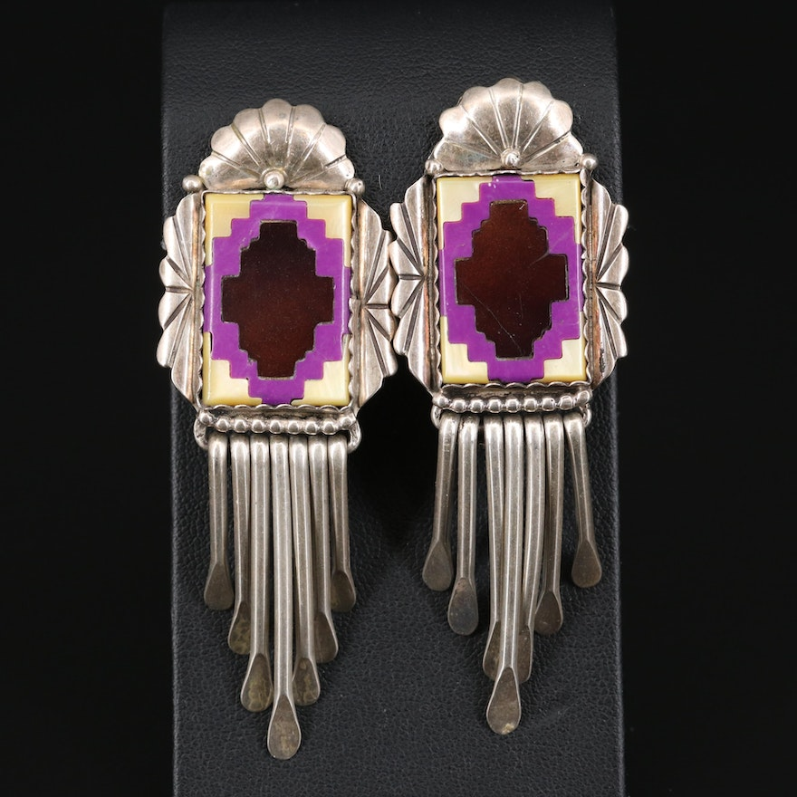 Western Style Sterling Mother of Pearl and Resin Inlay Earrings with Fringe