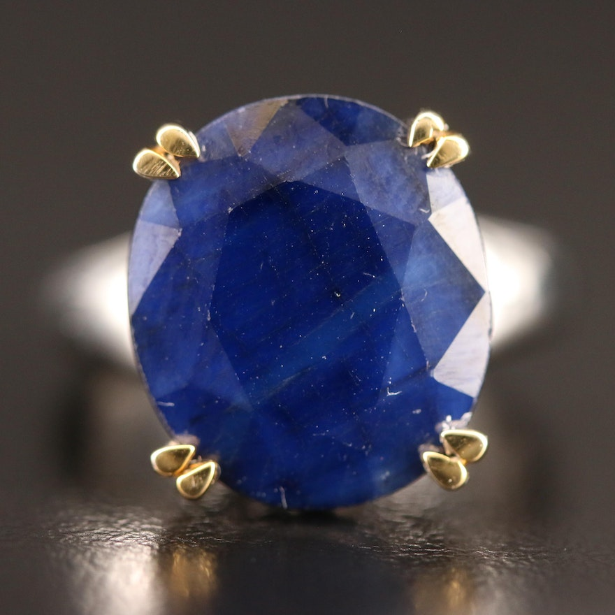 14K Oval Faceted Sapphire Ring with Double Pronged Setting