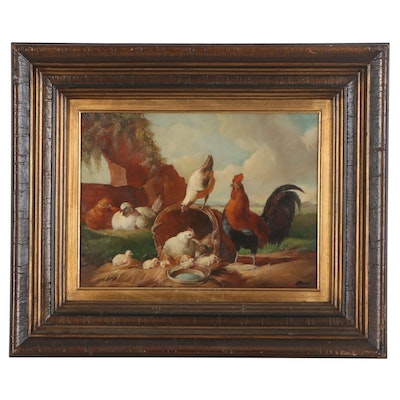 "Oil Painting after Albertus Verhoesen ""Poultry by a Ruin,"" Late 20th Century"