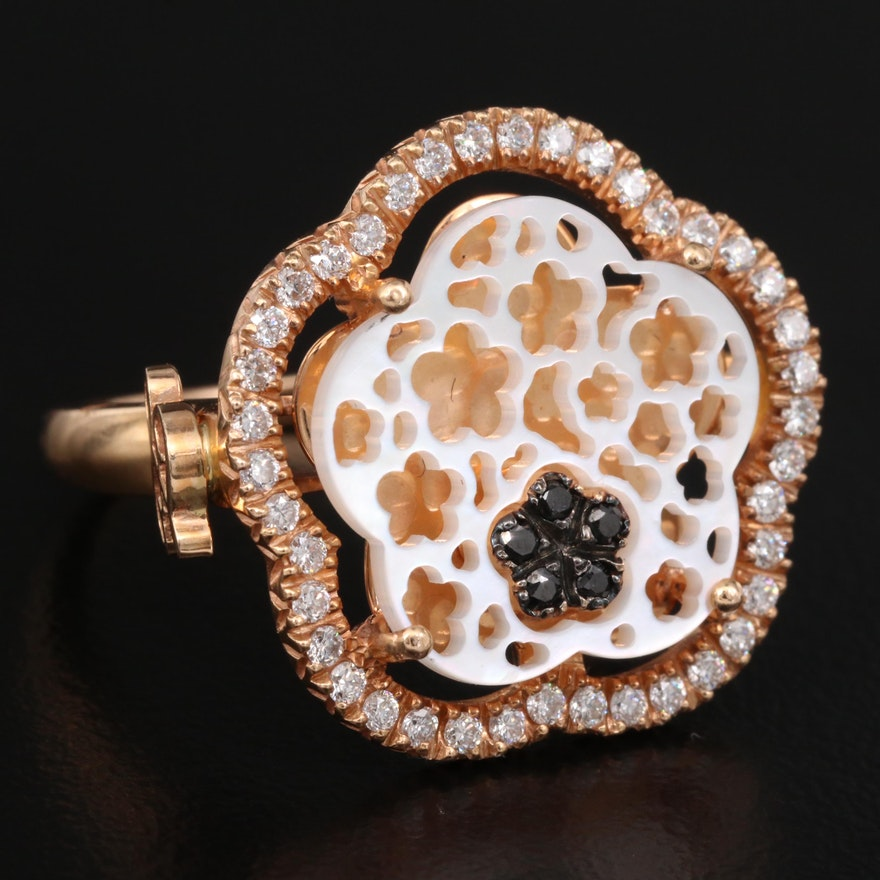 18K Rose Gold Diamond and Mother of Pearl Flower Ring