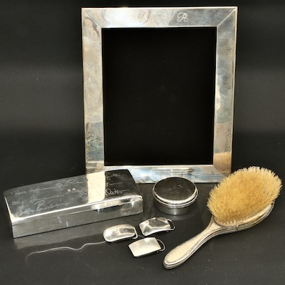 Sterling Silver Vanity Boxes, Buckles, Picture Frame and Shagreen Handled Brush
