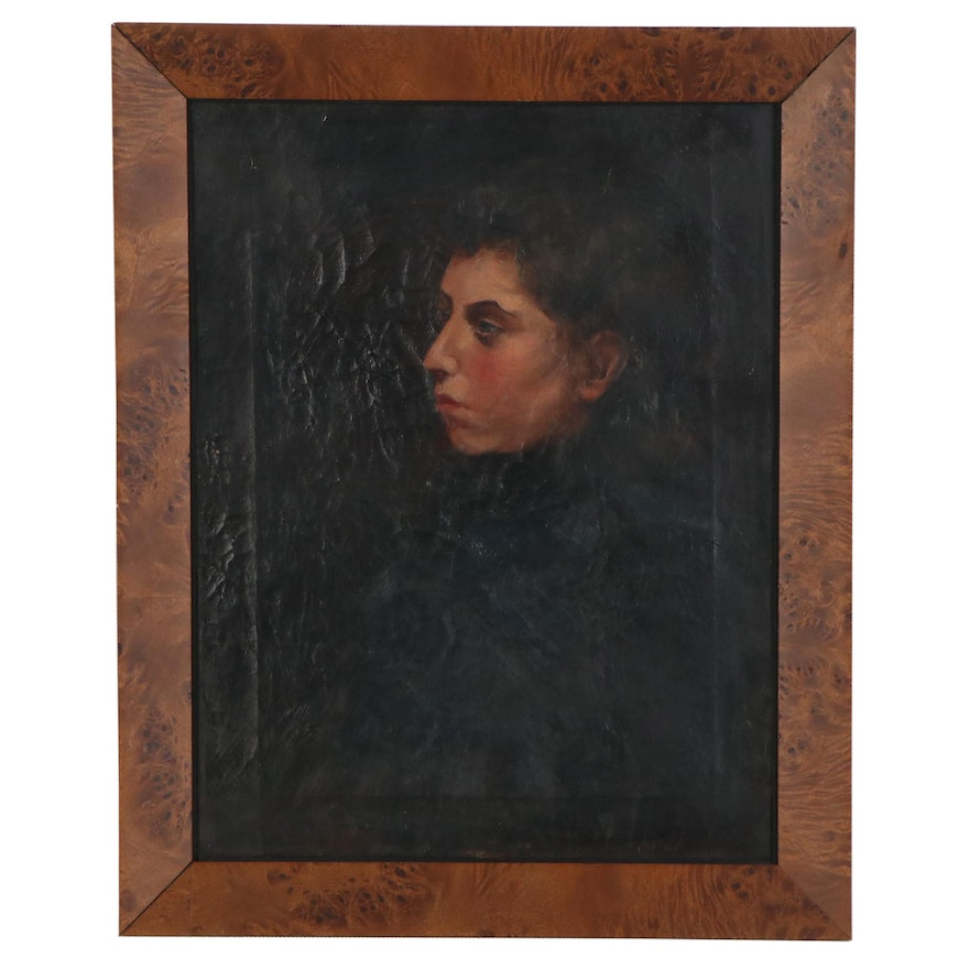 Portrait Oil Painting of Young Woman, 1890s