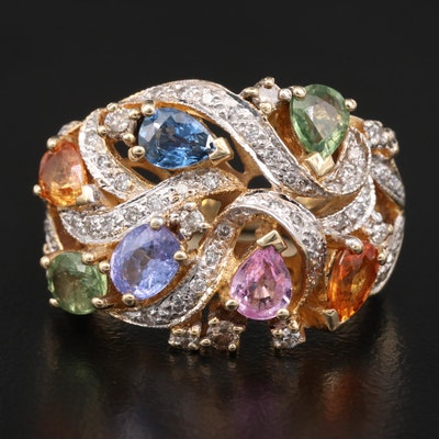 Le Vian 14K Sapphire, Tanzanite and Diamond  Cluster Ring