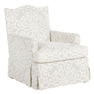 Contemporary Skirted Armchair with Crewel Upholstery