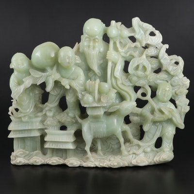 Chinese Carved Bowenite Figural Group of Shoulao and Attendants