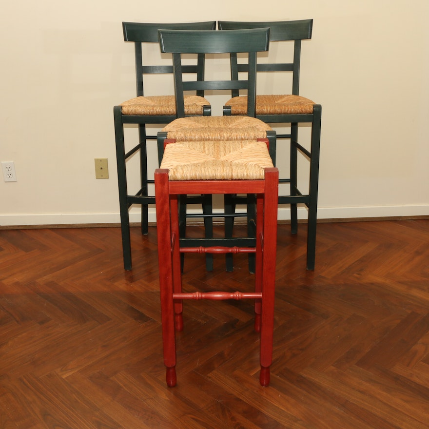 Pottery Barn Painted Wood and Rush Seat Barstools