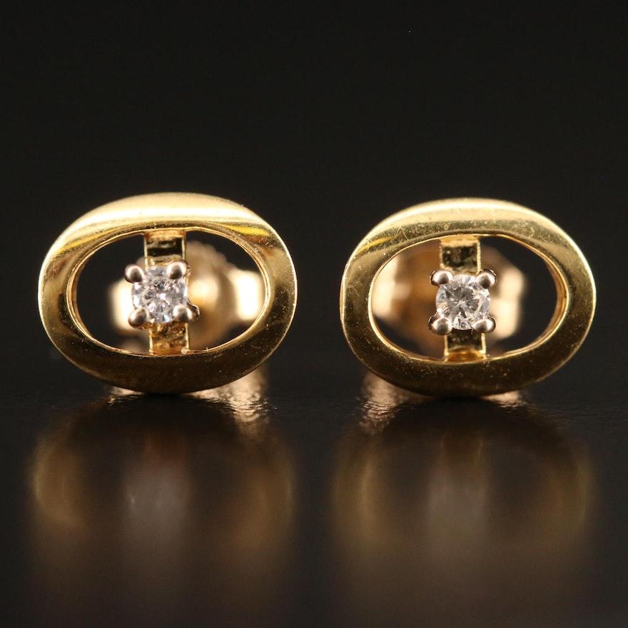 18K Diamond Stud Earrings with 14K Clutches