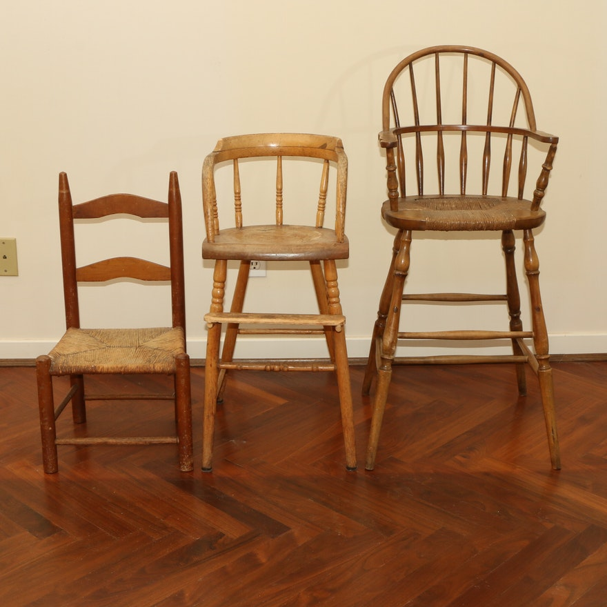 Nichols & Stone Windsor High Chair with American Primitive Style Child's Chairs