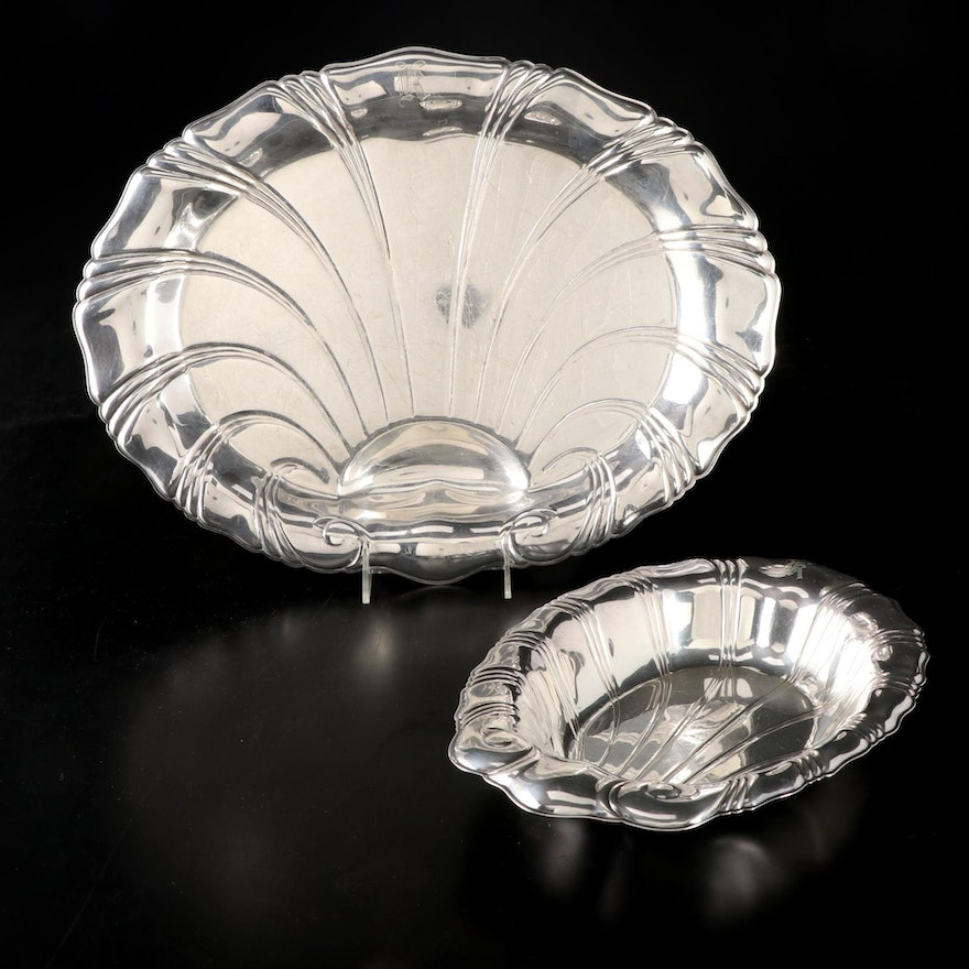 """Rogers Bros. """"Neptune"""" Silver Plate Serving Platters, Mid-20th Century"""