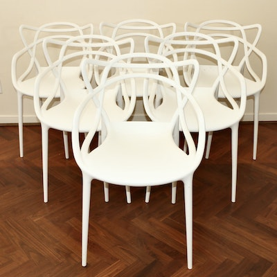 "Six White Plastic Stacking Chairs After Kartell's ""Masters"" Design"