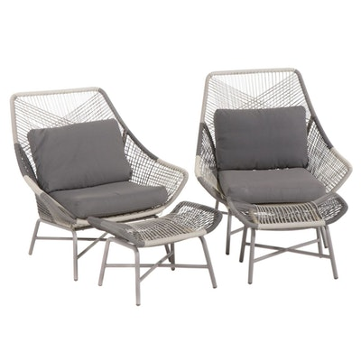 Pair of Metal Frame Patio Lounge Chairs, 21st Century
