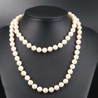 Individually Knotted Faux Pearl Necklace