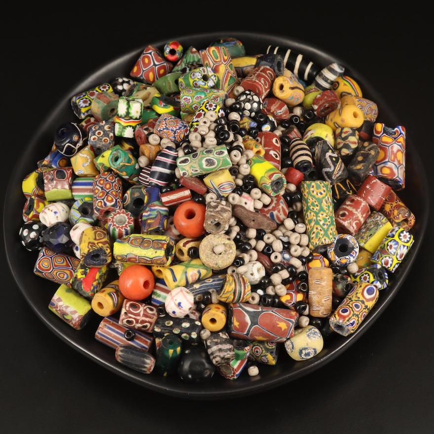 Trade Beads Including Tic Tac Toe, Millefiori, Chevron and Black Skunk