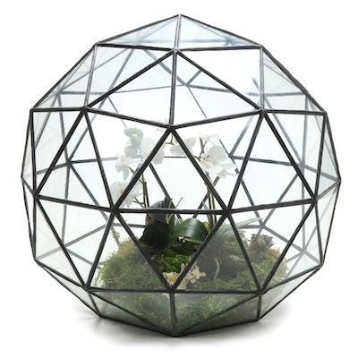 Leaded Glass Spherical Terrarium with Faux Orchid, Contemporary