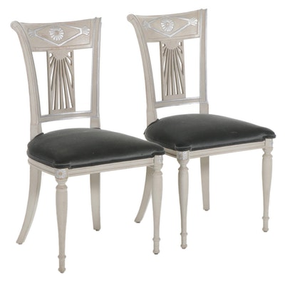 Pair of Gustavian Style Side Chairs with Velvet Upholstery