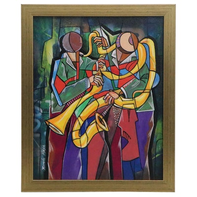 Ricardo Maya Abstract Acrylic Painting of Musicians