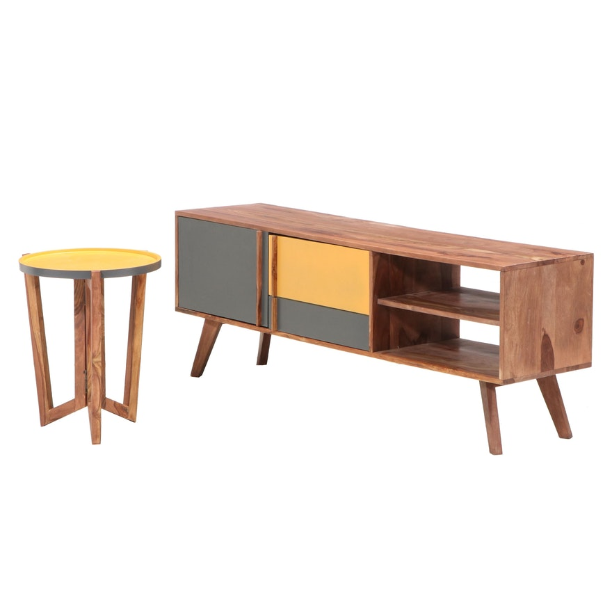 Moe's Mid Century Modern Style Media Console with Side Table