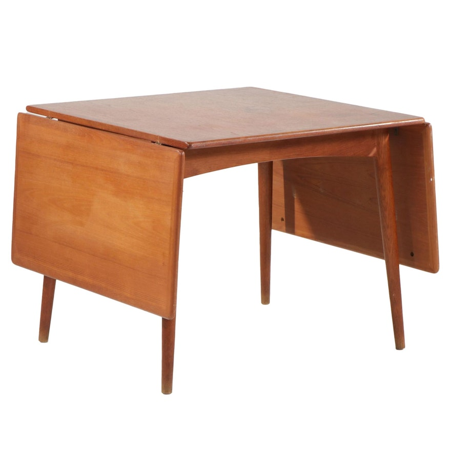 Hans Wegner for Andreas Tuck Danish Modern Teak Drop Leaf Dining Table, 1950s