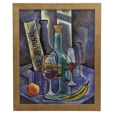 Ricardo Maya Cubist Style Still Life Oil Painting, 21st Century