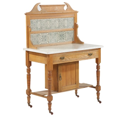 Late Victorian Marble Top Oak Wash Stand with Transfer Printed Tile Backsplash