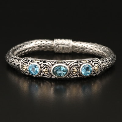 Samuel Benham Sterling Topaz Bracelet with 14K Accents