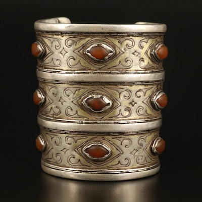 Antique Turkmen Sterling and 800 Silver Glass Bracer