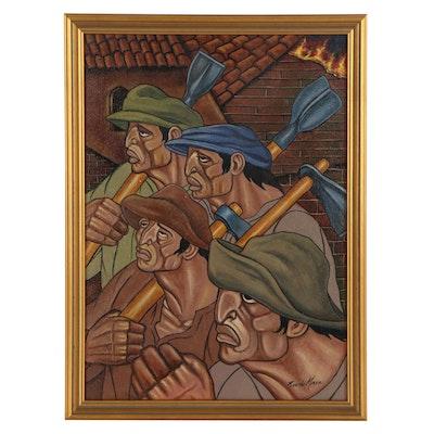 Ricardo Maya Social Realist Style Acrylic Painting of Laborers