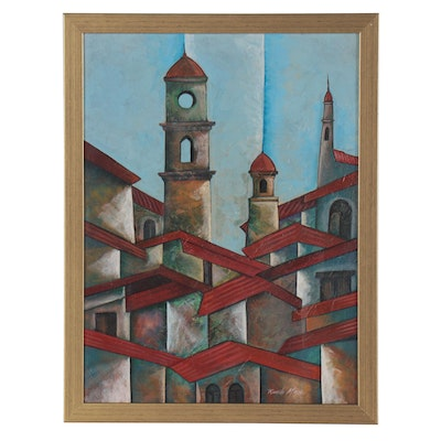 Ricardo Maya Architectural Acrylic Painting of Rooftops and Church Steeples