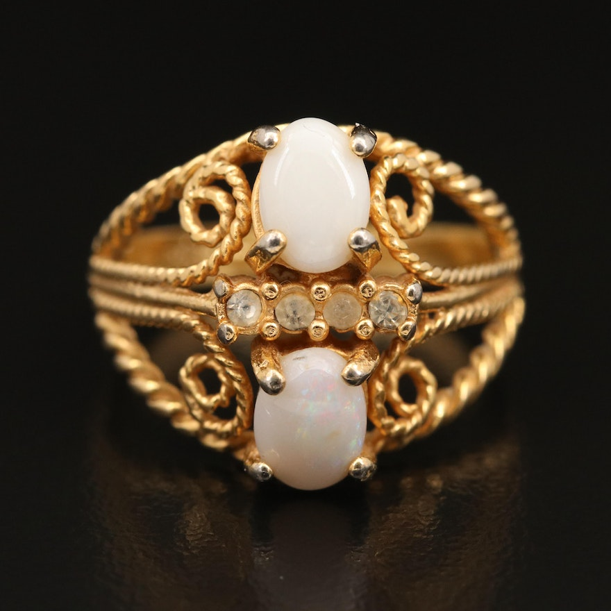 Opal and Rhinestone Electroplated Scrollwork Ring
