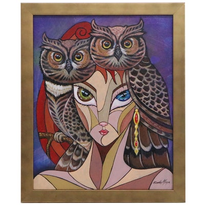 Ricardo Maya Abstract Acrylic Painting with Owls, 21st Century