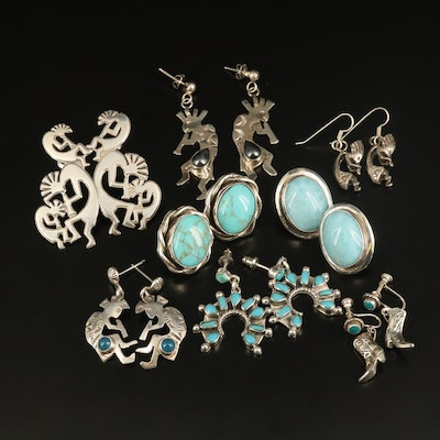 Sterling Kokopelli and Gemstone Earrings with Larimar, Hematite and Chalcedony
