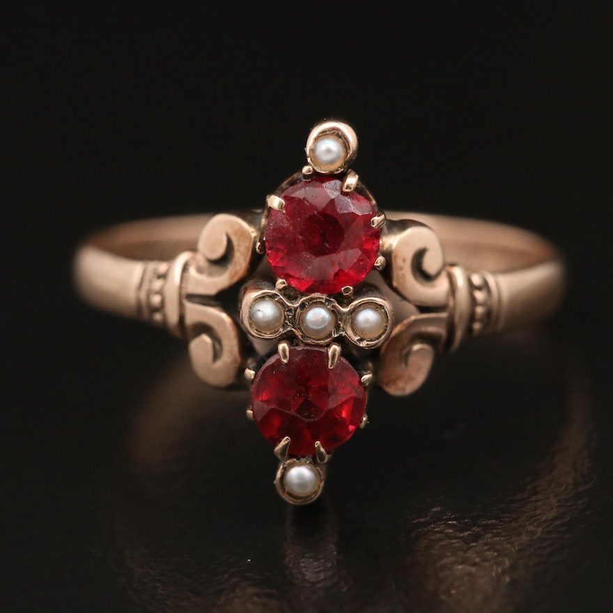 Victorian 8K Garnet Glass Doublet and Pearl Ring