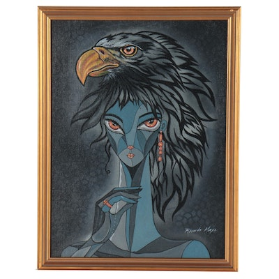 Ricardo Maya Surrealist Portrait Painting of Woman with Eagle