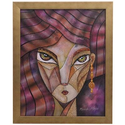 Ricardo Maya Acrylic Painting, 21st Century