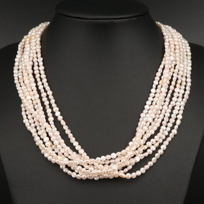 Eight-Strand Pearl Torsade Necklace with 14K Clasp