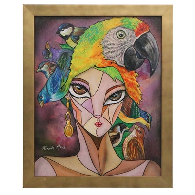 Ricardo Maya Surreal Abstract Acrylic Portrait Painting with Birds, 21st Century