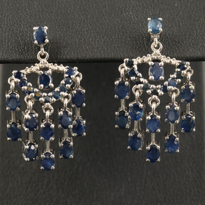 Sterling Sapphire Chandelier Earrings