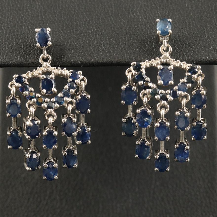 Sterling Sapphire Chandelier Earrings
