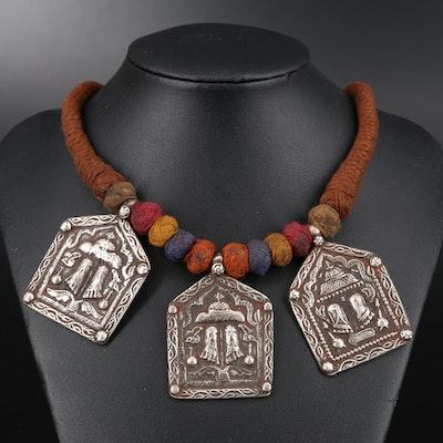 Vintage Indian 800 Silver Rajasthani Vishnupadaka Amulet Necklace