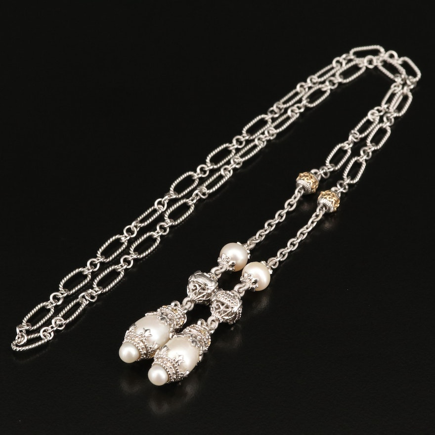 Gabriel & Co. Sterling Silver Pearl Lariate Necklace with 18K Accent