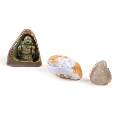 Chinese Carved Jadeite Budai with Japanese Agate Netsuke and Quartz Figurine