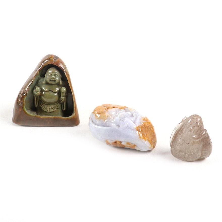 Chinese Carved Jadeite Budai with Japanese Agate Netsuke and Quartz Figurine