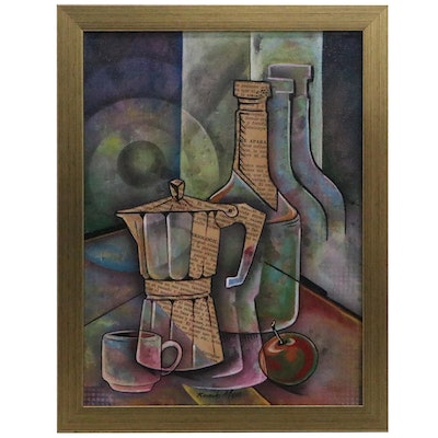 Ricardo Maya Abstract Still Life Mixed Media Painting