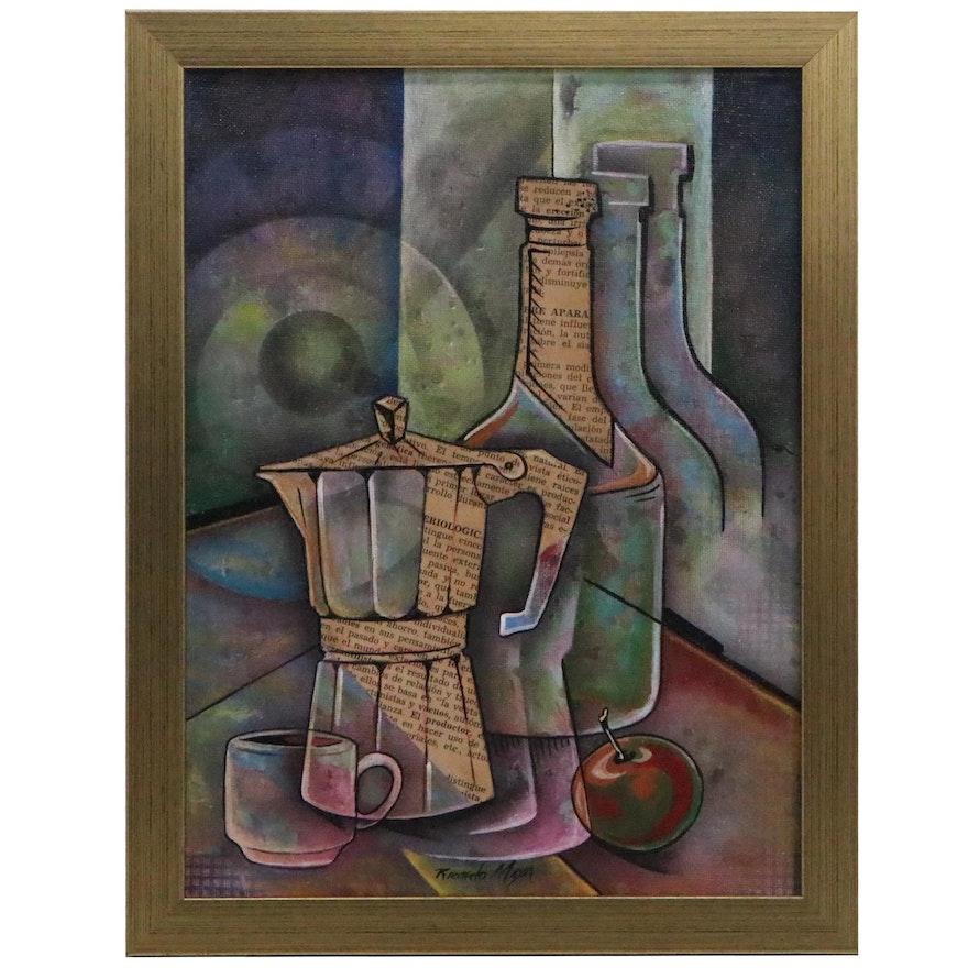 Ricardo Maya Abstract Still Life Mixed Media Painting
