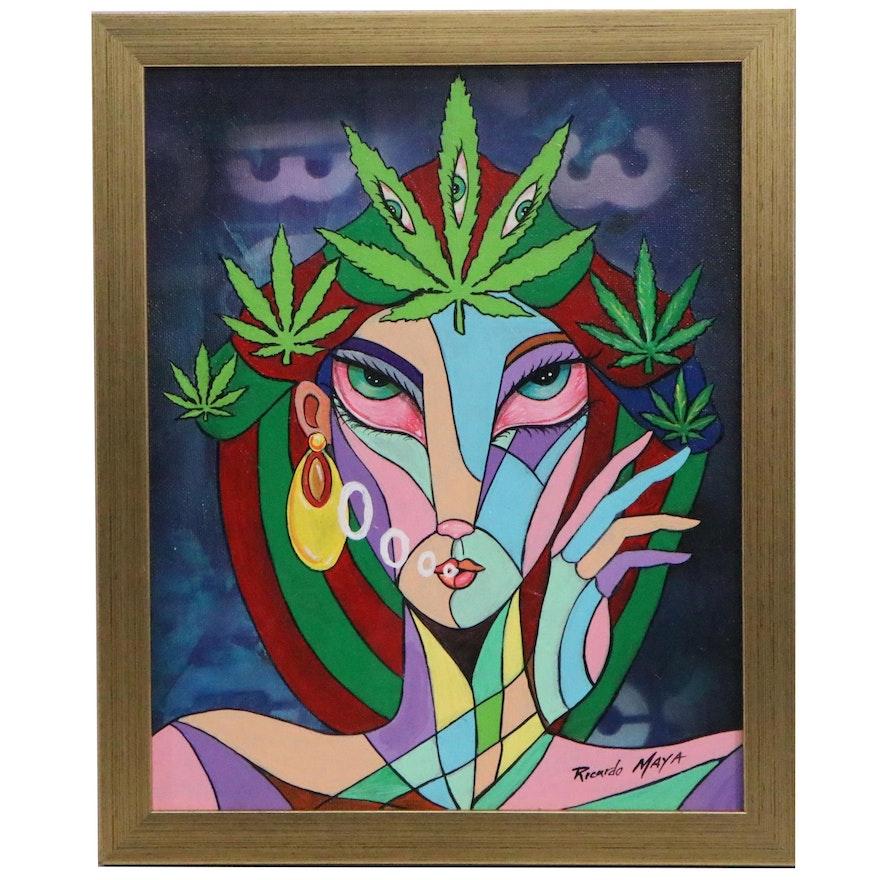 Ricardo Maya Portrait Acrylic Painting of Woman with Marijuana Leaves