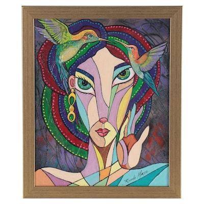 Ricardo Maya Abstract Portrait Acrylic Painting of Woman with Birds
