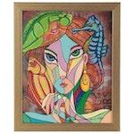 Ricardo Maya Abstract Portrait Acrylic Painting