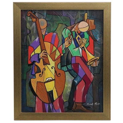 Ricardo Maya Cubist Style Oil Paintings of Musicians, 21st Century