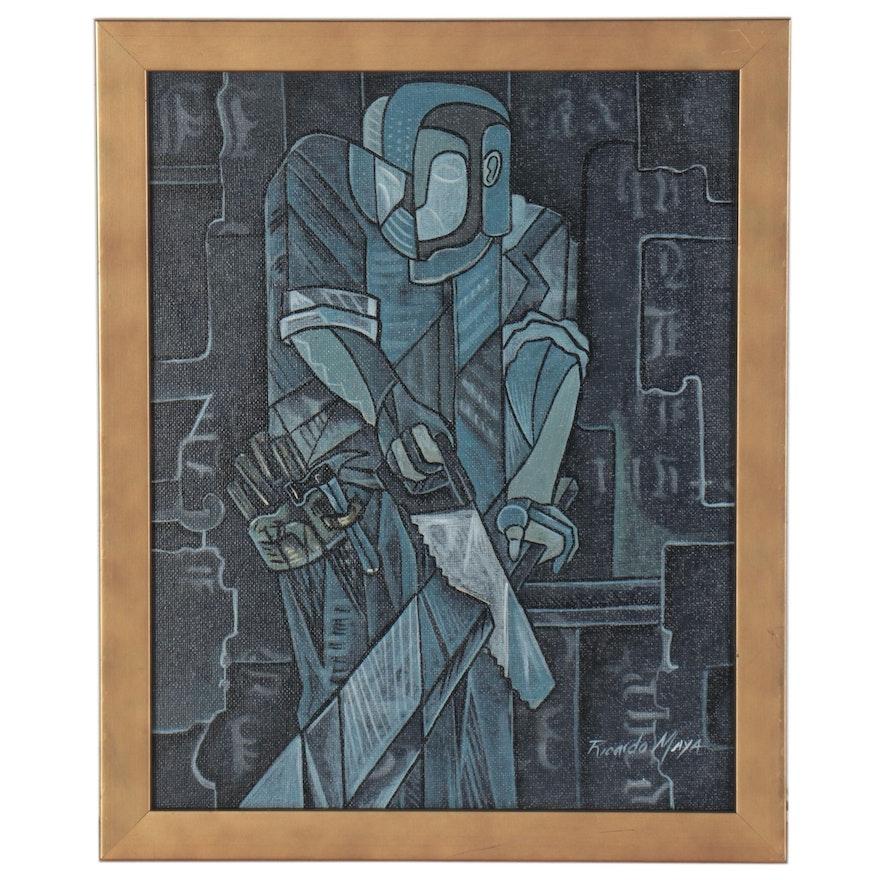 Ricardo Maya Abstract Acrylic Painting of Cubist Style Figure